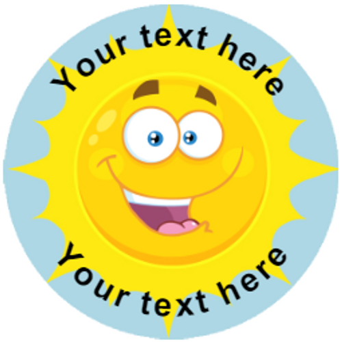 Sticker Stocker 144 Happy Sun Personalised 30mm Reward Stickers for School Teachers, Parents and Nursery