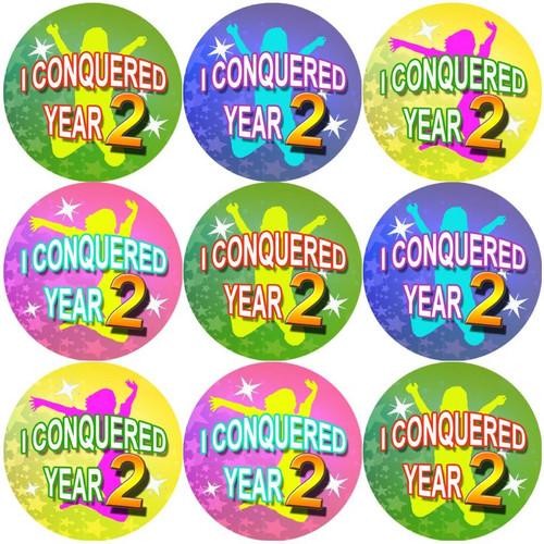 Sticker Stocker 144 I Conquered Year 2 - End of Term Year 1st grade Teacher Reward Stickers Size 30 mm
