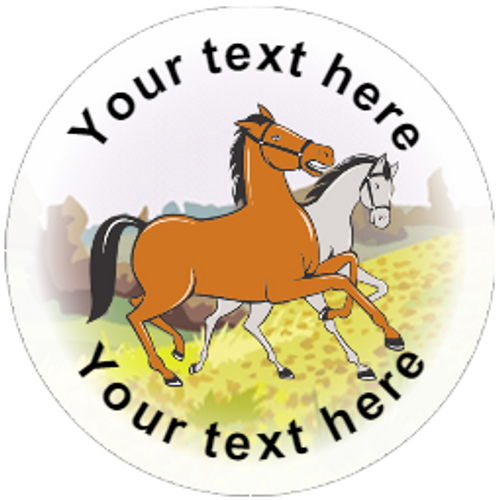 Sticker Stocker 144 Personalised Horses 30mm Reward Stickers for Horse Riding Schools, Party Bag, Parents
