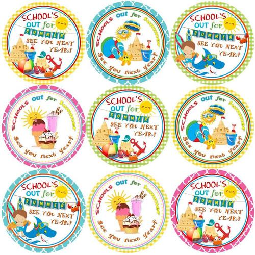 Sticker Stocker 144 Schools out for Summer - End of Term Year Teacher Reward Stickers Size 30 mm