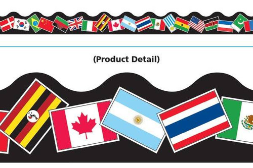 Trend Enterprises Inc Classroom Trimmers Notice Board Display Borders - World Flags