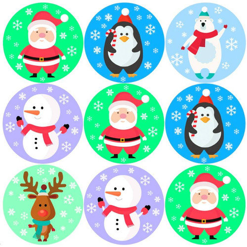 Sticker Stocker 144 Christmas Friends 30mm Childrens Reward Stickers for Teachers or Parents