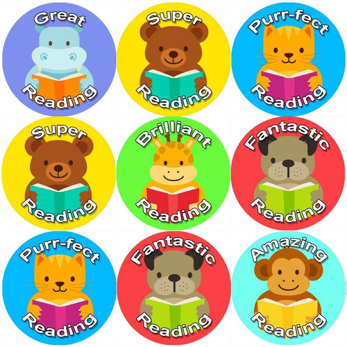 Sticker Stocker 144 Reading Animals 30 mm Reward Stickers for School Teachers, Parents and Nursery