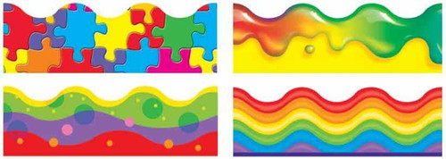 Trend Enterprises Inc Classroom Trimmers Display Borders Variety Pack - Colour Blast