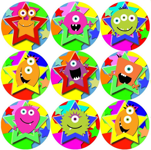 Sticker Stocker 144 Monster Stars 30mm Round Childrens Reward Stickers for Teachers, Parents and Party Bags