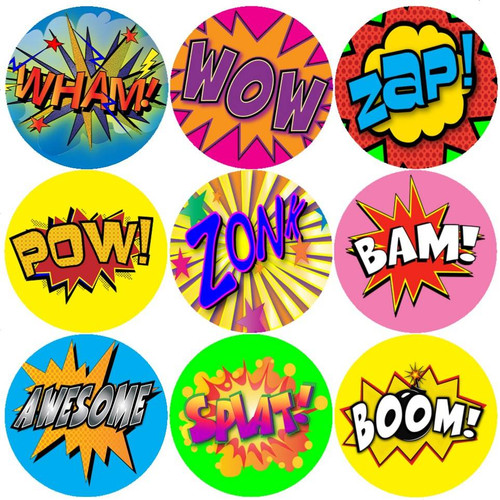 Sticker Stocker 144 Superhero Action Words 30mm Comic Reward Stickers for Teachers, Parents and Party Bags