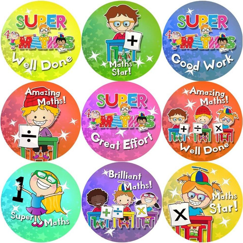 Sticker Stocker 144 Maths Awards 30 mm Reward Stickers for School Teachers, Parents and Nursery