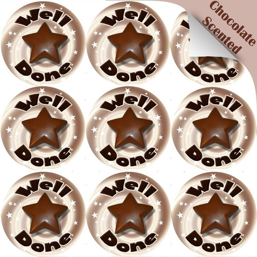 Sticker Stocker 120 Chocolate Well Done Star 30mm Scented Reward Stickers for Teachers, Parents and Party Bags