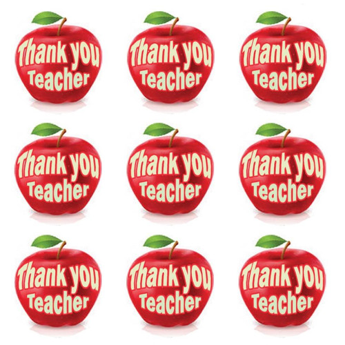 Sticker Stocker 144 Thank you Teacher 30 mm Apple themed Reward Stickers for School, Parents
