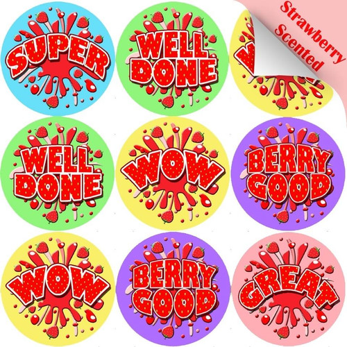 Sticker Stocker 120 Strawberry Burst 30mm Scented Reward Stickers for Teachers, Parents and Party Bags