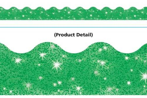 Trend Enterprises Inc Classroom Trimmers Notice Board Display Borders - Green sparkle