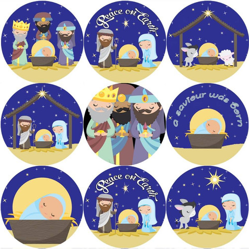 Sticker Stocker 144 Christmas Nativity 30mm Childrens Xmas Reward Stickers for Teachers or Parents