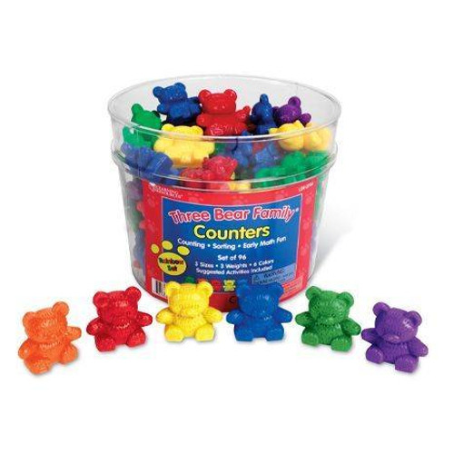 Learning Resources Three Bear Family Counter Set - Rainbow Set of 96, 6 colours by Learning Resources