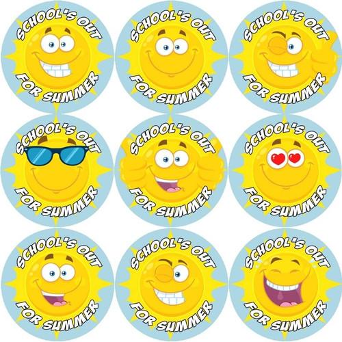 Sticker Stocker 144 Schools out for Summer - Sunshine End of Term Year Teacher Reward Stickers Size 30 mm