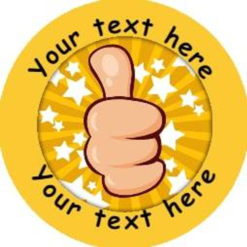 Sticker Stocker 144 Personalised Thumbs Up 30mm Reward Stickers for School Teachers, Parents and Nursery