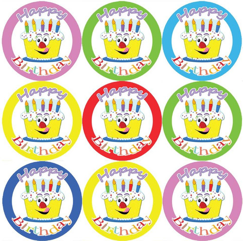 Sticker Stocker 144 Happy Birthday Cake Themed 30mm Childrens Reward Stickers for Teachers or Parents