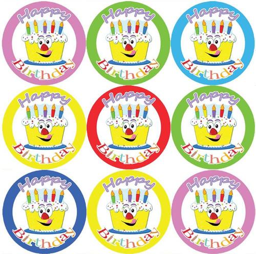 Sticker Stocker 144 Happy Birthday Cake Themed 30mm Childrens Reward Stickers for Teachers or Parents