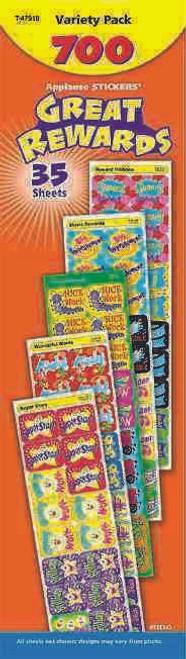 Trend Enterprises Inc 700 Large Great Rewards Variety Pack Applause reward stickers