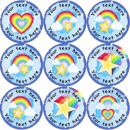 Sticker Stocker 144 Personalised Rainbows 30mm Reward Stickers for School Teachers, Parents and Nursery