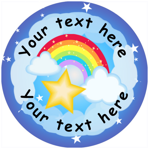Sticker Stocker 144 Personalised Rainbows 30mm Reward Stickers for School Teachers, Parents and Nursery