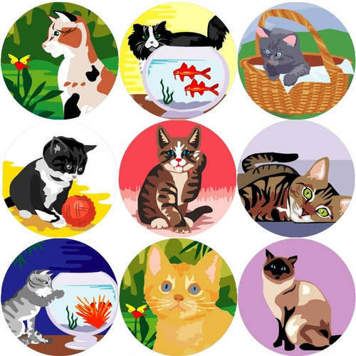 Sticker Stocker 144 Cats and Kittens 30mm Reward Stickers for Teachers, Parents and Party Bags