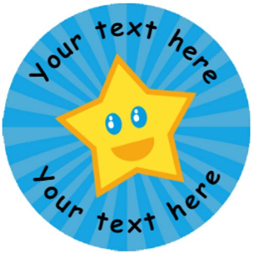 Sticker Stocker 144 Happy Star Personalised 30 mm Reward Stickers for School Teachers, Parents and Nursery