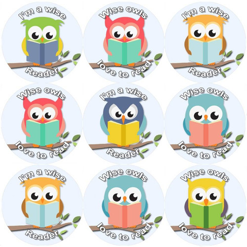 Sticker Stocker 144 Reading Owls 30 mm Reward Stickers for School Teachers, Parents and Nursery