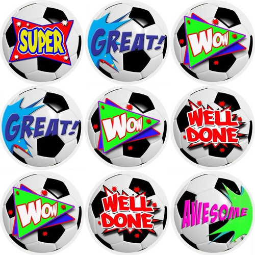 Sticker Stocker 144 Football Praise Words 30mm Reward Stickers for Teachers, Parents and Party Bags