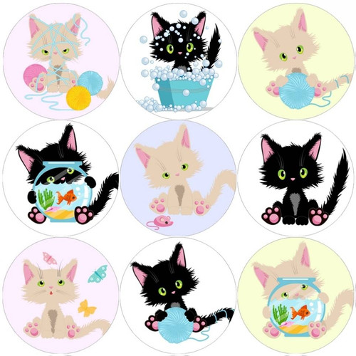 Sticker Stocker 144 Cute Cats 30mm Reward Stickers for Teachers, Parents and Party Bags