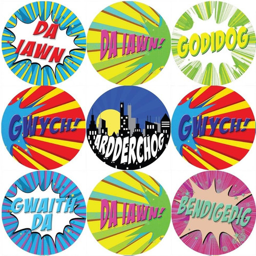 Sticker Stocker 144 Superhero Comic Welsh Praise Words 30mm Reward Stickers for Teachers, Parents