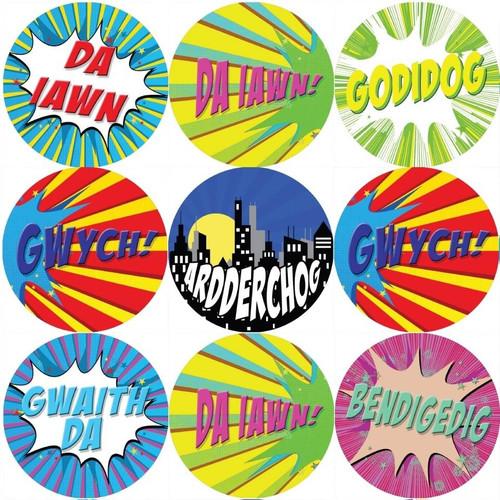 Sticker Stocker 144 Superhero Comic Welsh Praise Words 30mm Reward Stickers for Teachers, Parents