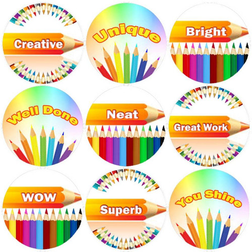 Sticker Stocker 144 Positive Pencils 30mm Childrens Reward Stickers for Teachers or Parents