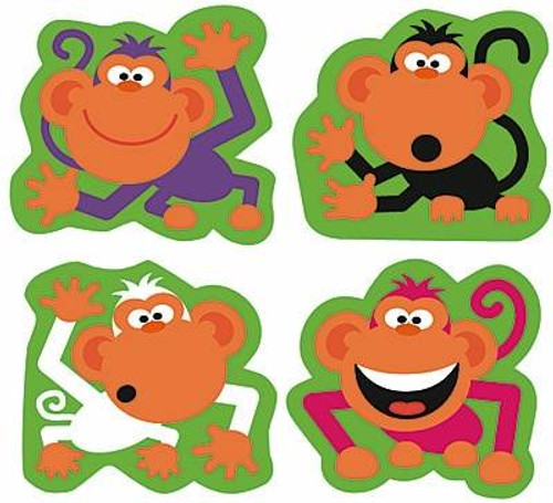Trend Enterprises Inc 184 Monkey Antics SuperShapes Teacher Reward Stickers - Large