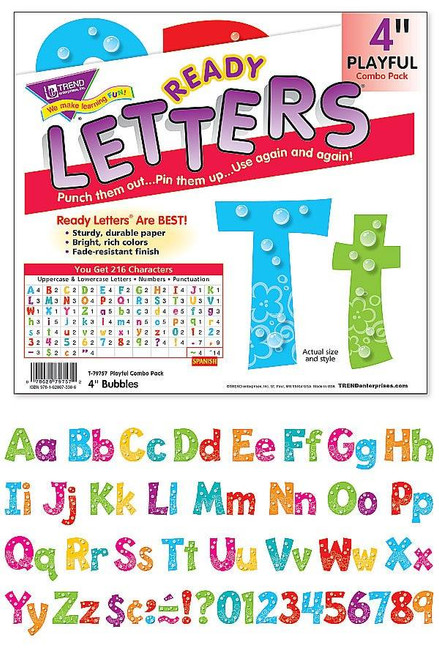 Trend Enterprises Inc Display Board Ready Letters - Bubbles Playful 4 combo pack