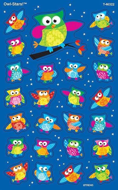 Trend Enterprises Inc 200 Owl Stars SuperShapes Teacher Reward Stickers - Large