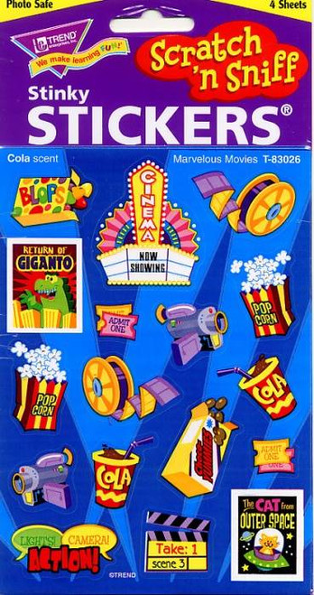 Trend Enterprises Inc 68 Marvelous Movies Cola Scented Scratch and Sniff Stickers