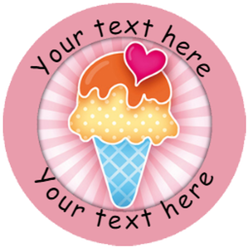 Sticker Stocker 144 Personalised Summer Ice Cream 30mm Reward Stickers for School Teachers, Parents and Nursery