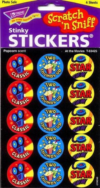 Trend Enterprises Inc 60 TREND At the Movies Popcorn Scratch n Sniff Reward Stickers