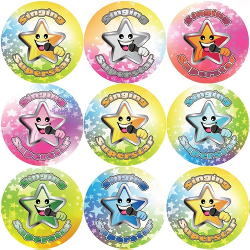 Sticker Stocker 144 Singing Superstar 30 mm Reward Stickers for Teachers, Parents and Party Bags