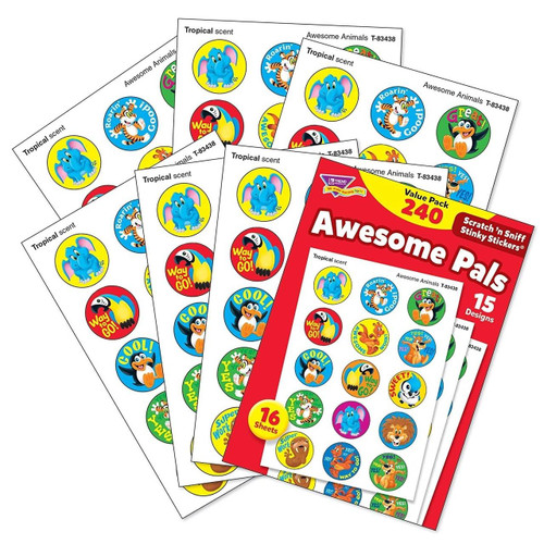Trend Enterprises Inc 240 Awesome Pals Tropical Scented Stickers Scratch n Sniff Stinky Reward Stickers