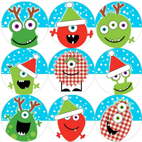 Sticker Stocker 144 Christmas Monsters 30mm Childrens Reward Stickers for Teachers or Parents