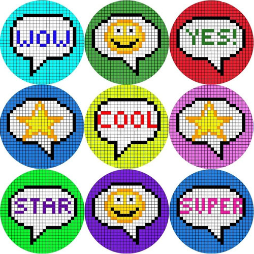 Sticker Stocker 144 Pixel Praise Words 30mm Stickers for Teachers, Parents and Party Bags