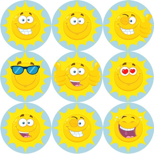 Sticker Stocker 144 Happy Sun 30mm Reward Stickers for Teachers, Parents and Party Bags