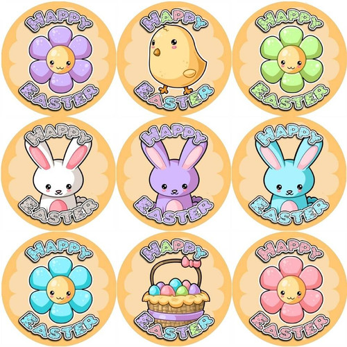 Sticker Stocker 144 Happy Easter Time 30mm Reward Stickers for Teachers, Parents and Spring Party Bags