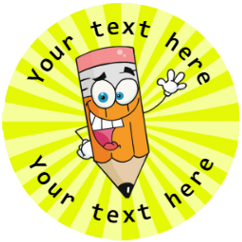 Sticker Stocker 144 Happy Pencils Personalised 30 mm Reward Stickers for School Teachers, Parents and Nursery