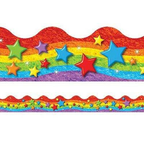 Trend Enterprises Inc Classroom Trimmers Notice Board Display Borders Rainbow and Stars