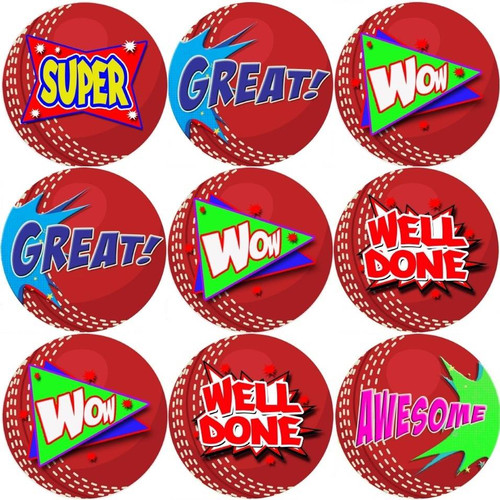 Sticker Stocker 144 Cricket Praise Words 30mm Reward Stickers for Teachers, Parents and Party Bags