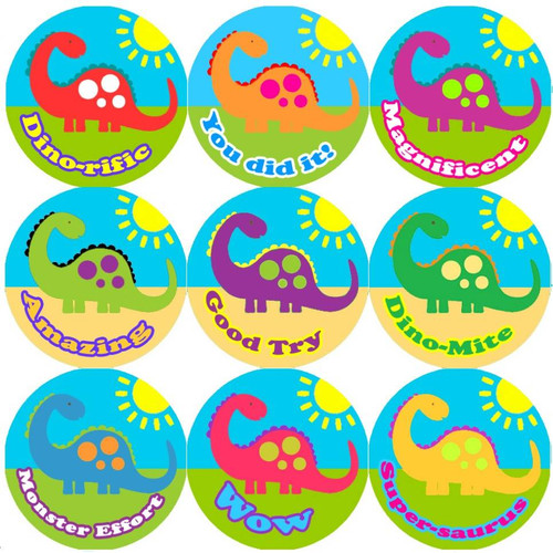 Sticker Stocker 144 Big Colourful Dinosaur 30mm Round Childrens Reward Stickers for Teachers or Parents