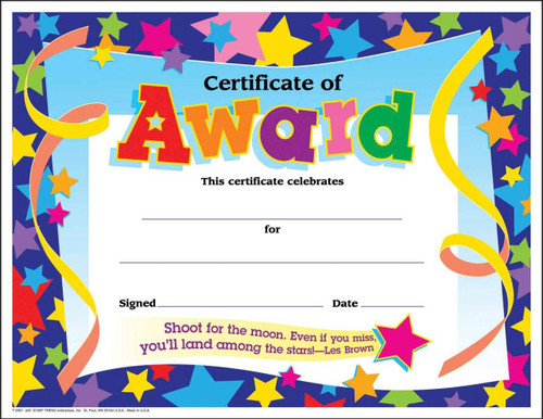 Trend Enterprises Inc 30 Childrens certificates of award star pack large