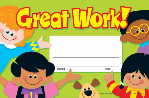 Trend Enterprises Inc 30 Great Work Childrens Award - Recognition Certificates Pad